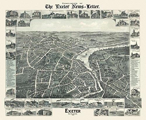 Aromzen Vintage Map of Exeter New Hampshire 1896 Rockingham County Canvas Art - (36 x 54)