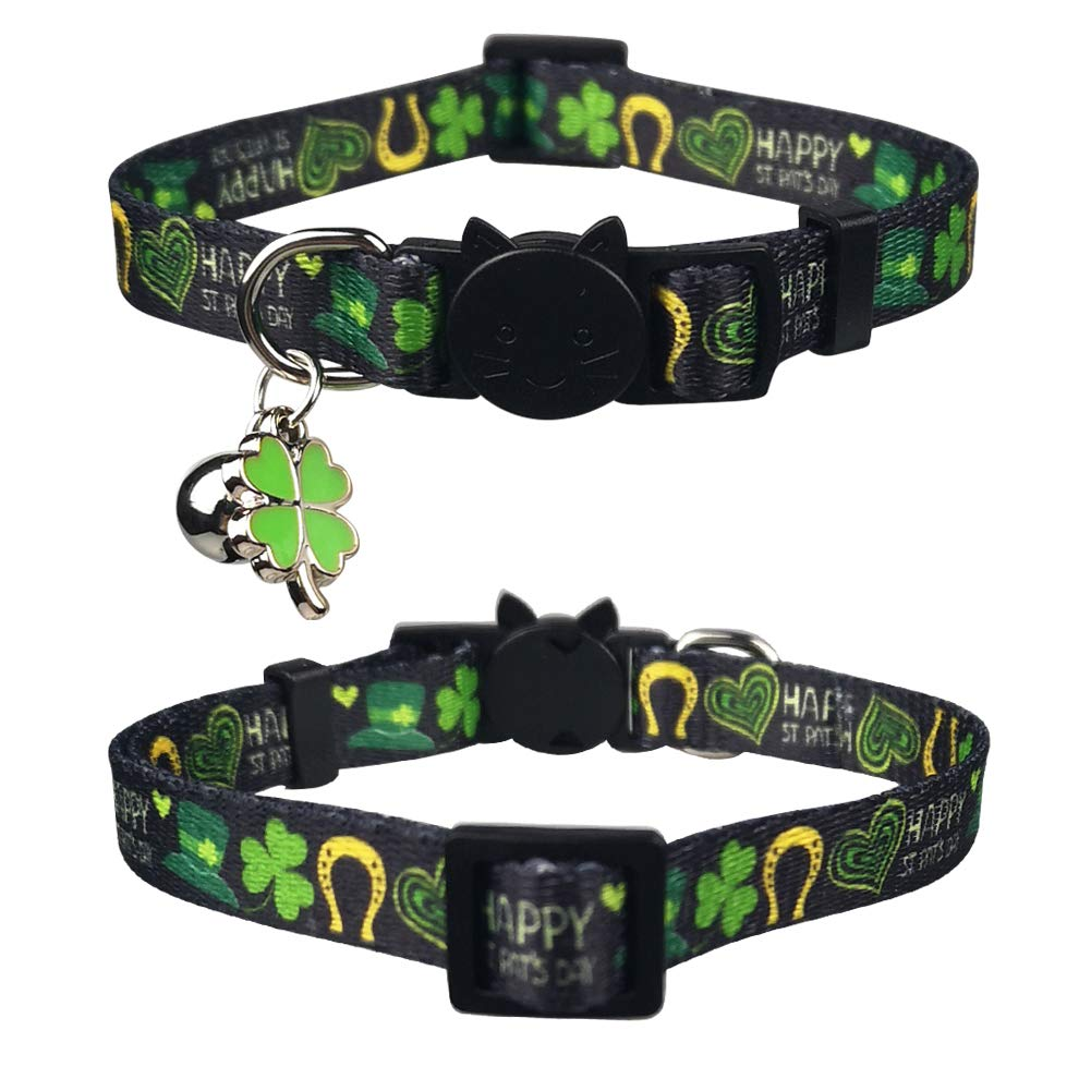 Lamphyface 3 Pack St Patricks Day Cat Collar with Bell Breakaway Adjustable