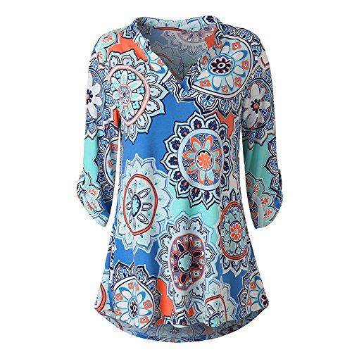 T Top Stampa blu Tumblr Scollo Maglietta Donna Camicetta S V Cappuccio Shirt Elegante Maniche Felpe Weant Pullover Felpa Lunghe Magliette Camicia OtqAxxI