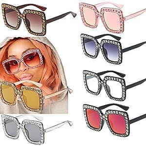 Alonea Women Sunglasses, Womens Fashion Artificial Diamond Classic Cat Ear Quadrate Metal Sunglasses Frame 8 Pack