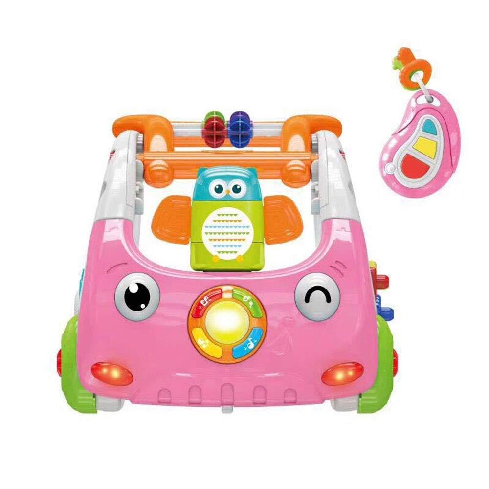 Baby Walker Infant Baby Hand Push Walker Multifunctional 3-in-1 Smart Music Light Children's Toy Push (Color : Pink, Size : 63.546.518.5CM)