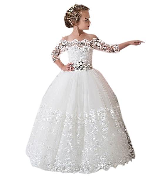 445f4a23da3d HotGirls Vestiti da ragazza fiorita in pizzo prima comunicazione abiti  Principessa Ragazze  Amazon.it  Abbigliamento