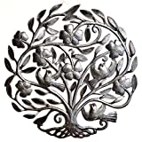 Tree of life with Flowers, Nature Inspired Metal Wall Art, Hang indoor or outdoors 22.5″ X 23″ For Sale