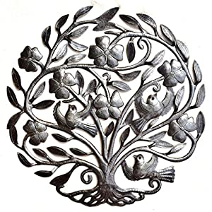 "Tree of Life with Flowers, Nature Inspired Metal Wall Art, Hang Indoor or Outdoors 22.5"" X 23"" 110"