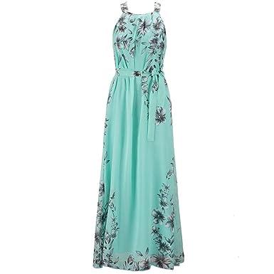 bd9af98fe71135 Damen Sommerkleider Lang Chiffon Blumen Kleider Elegante Maxikleid  Ärmellose Strandkleid