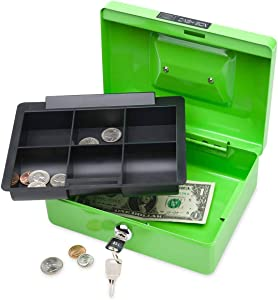 """HearthSong Kids' Metal Cash Lockbox with Plastic Inner Tray, Includes Lock and 2 Keys, Approx. 8"""" L x 6"""" W x 3"""" H in Green……"""