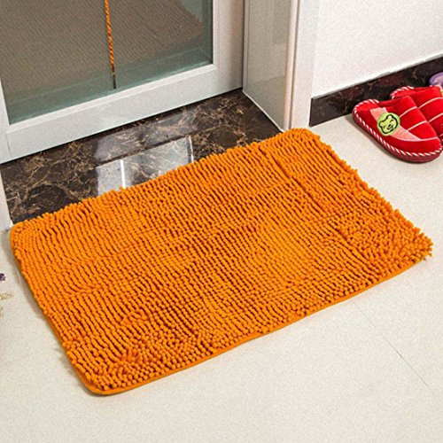 Z&L Home Ultra Soft Texture Chenille Plush Bath Area Rugs Floor Mats Non Slip Microfiber Door Mat for Kitchen Entryway Living Room Bathroom Shower-Saffron Yellow (31' Saffron)