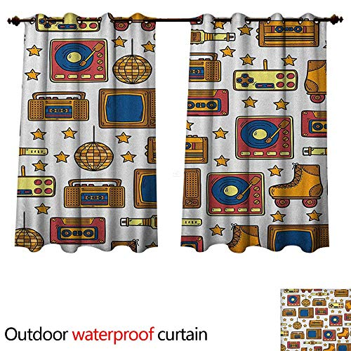 Anshesix 90s Home Patio Outdoor Curtain 90s Theme with Old Style Recorder Stereo Television Roller Skate Shoes Electronic Watch W84 x L72(214cm x 183cm)