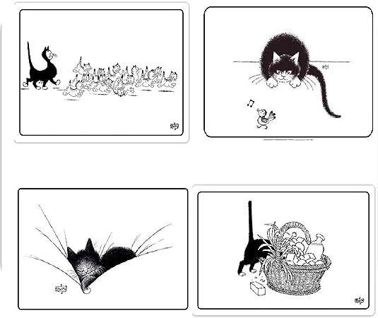 Editions Clouet – Juego de 4 manteles Individuales de Mesa, diseño de Gato, Color Negro y Blanco, 45 x 30 cm: Amazon.es: Hogar