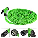HOP LINK Expandable Garden Hose Green,Best Magic Stretch Hosepipe, Fits Common Style Fittings. Tap to Pressure Washer Suitable. Professional Spray Gun (100FT(30M) )