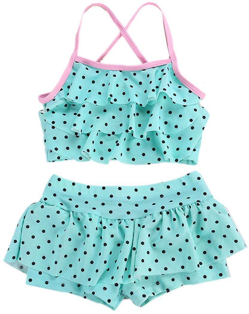 Aniwon 2 PCS Beach Swimsuit Set Dots Bathing Swimsuits Summer Beach Swimwear Fashion Pool Swimsuit for Kids