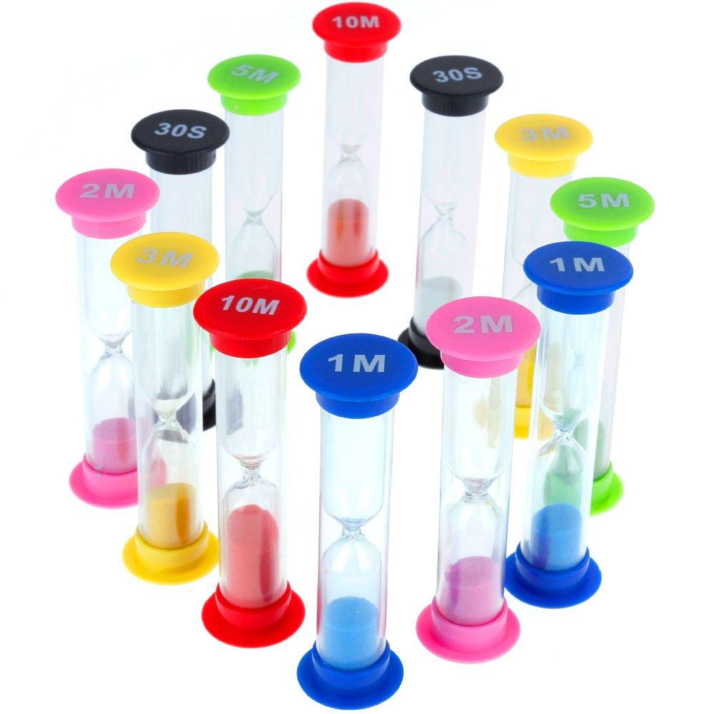Faburo 12 Pièce Sablier Hour Glass Horloge De Sable Minuterie 30 Secondes / 1Minutes / 2Minutes/ 3Minutes/ 5Minutes / 10 Minutes (6 Couleur)
