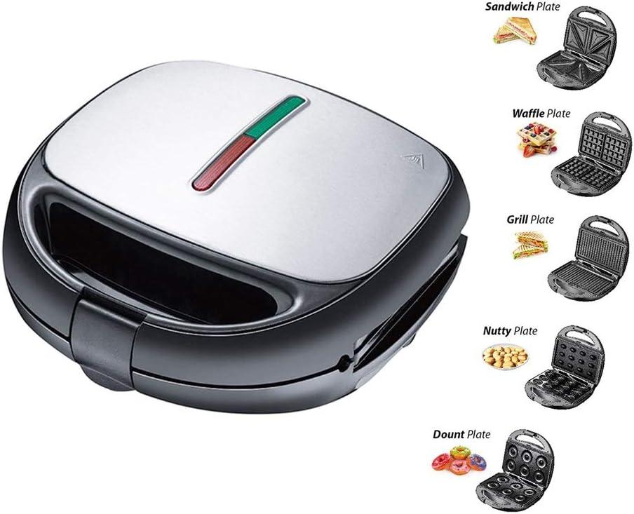 HMMJ 5-en-1 Wafflera, Sandwich Tostadora, Panini Press Grill, buñuelo Hierro Máquina, de nuez de la placa, placas desmontables antiadherente, 800W, automático de control de temperatura