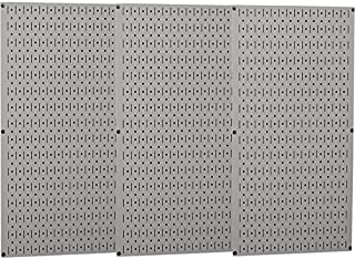 product image for Wall Control Industrial Metal Pegboard - Gray, Three 16in. x 32in. Panels, Model Number 35-P-3248GY