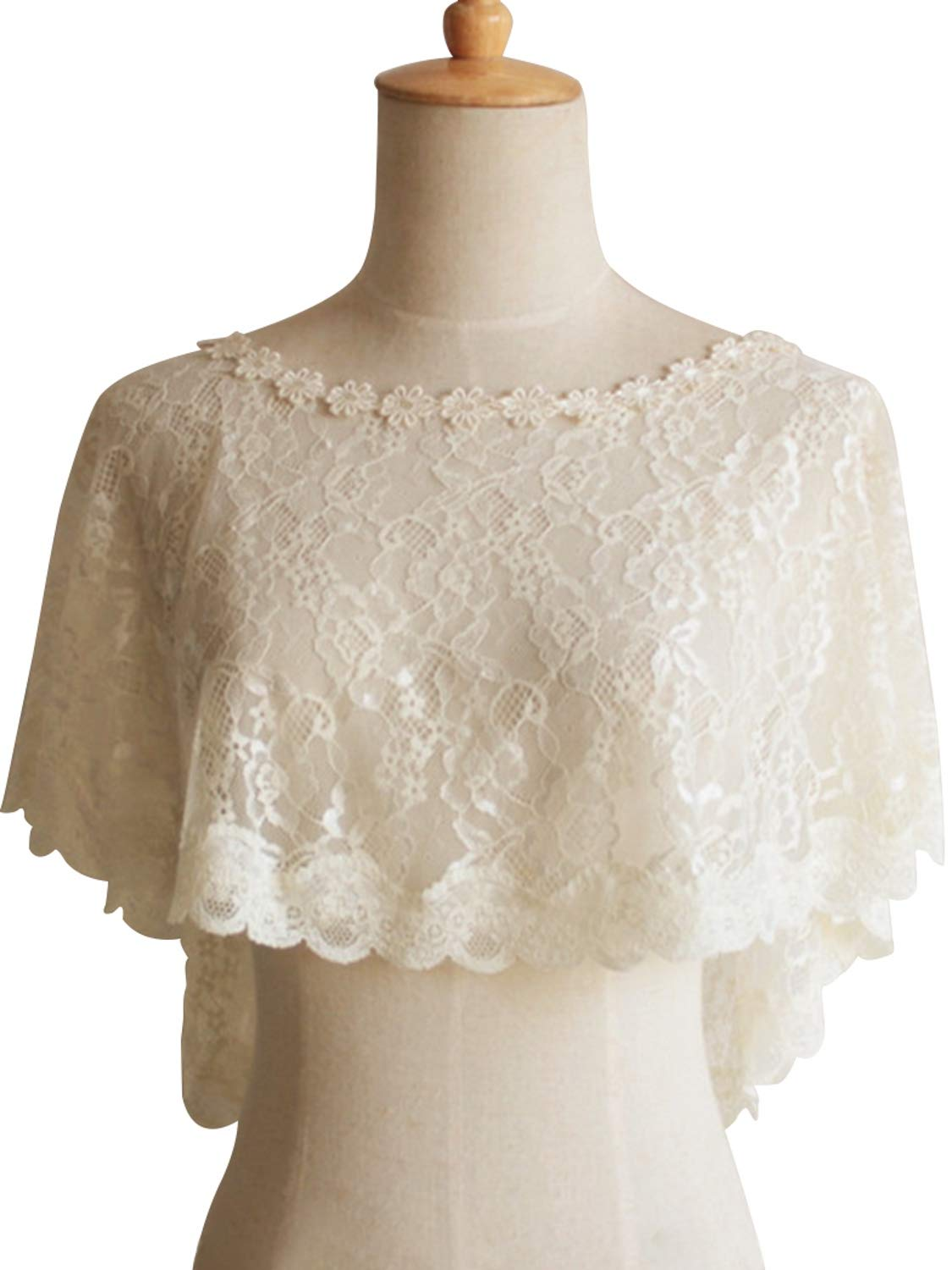 Women's Lace Tulle Shawl Wrap Evening Cap for Bride Bolero Shawls,Champagne by MisShow (Image #1)