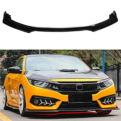 MotorFansClub 3pcs Front Bumper Lip Splitter for Honda Civic 2016 2020 2020 Trim Protection Splitter Spoiler, Black: Automotive