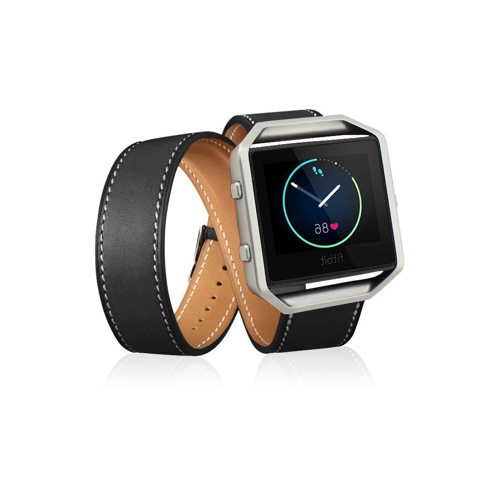 smarmate Genuine Leather Double Tourバンドストラップブレスレットwithメタルフレームハウジングfor Fitbit Blaze  Black,Double Tour B01G40SZ8I