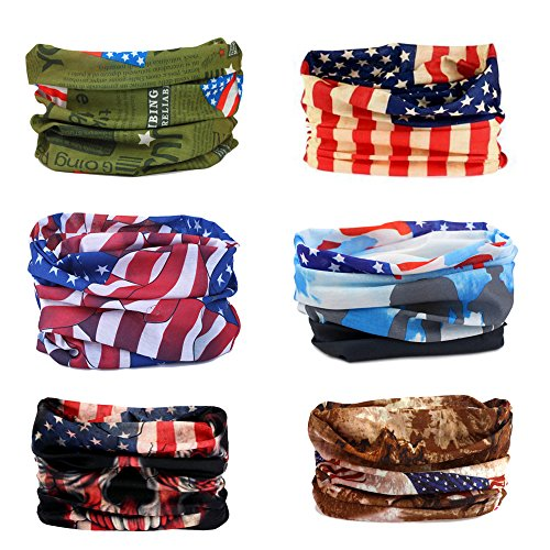 Wujia 6pcs Unisex Multifunctional Outdoor Seamless Face Mask Bandana Headband (american flag) ()