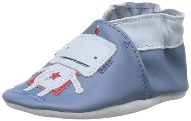 Robeez Baby Jungen Space Robot Krabbel-& Hausschuhe, Blau (Bleu), 21/22 EU