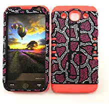 LG OPTIMUS G PRO CASE LEOPARD RD-FD028 HEAVY DUTY HIGH IMPACT HYBRID COVER RED SILICONE SKIN E980