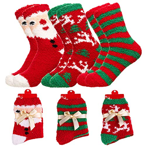 Women Christmas Fuzzy Fluffy Socks - Cozy Warm Slipper Bed Socks For Xmas Gift