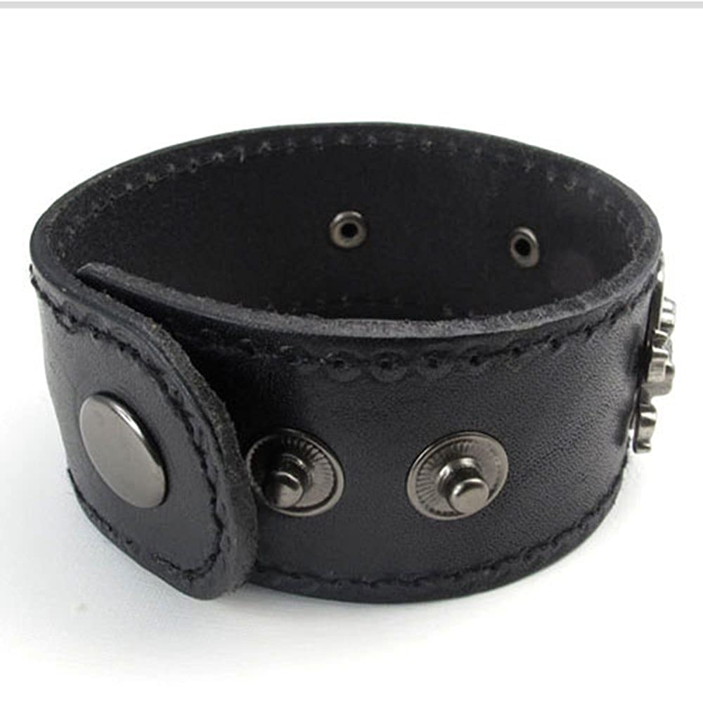 Fits 7 to 8 Black Punkool Fashion Wide Leather Gothic Pirate Skull Mens Bangle Cuff Bracelet