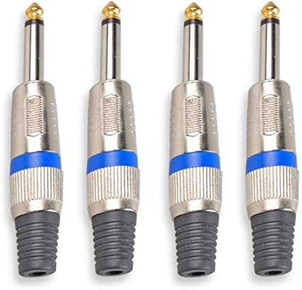 "8x REAN 1//4/"" Male Stereo TRS Audio Guitar Cable Plugs 6.35mm Connector Adapter"