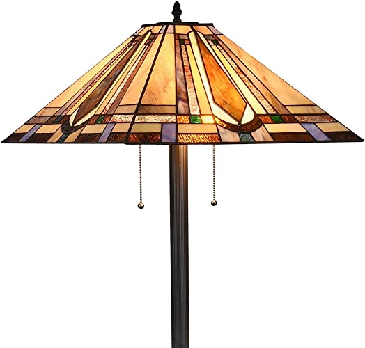 LB Lighting Tiffany Mission Style Floor Lamp Standing Light Fixtures 65-Inch Tall Stained Glass Shade 18-inch Wide Pull Chain