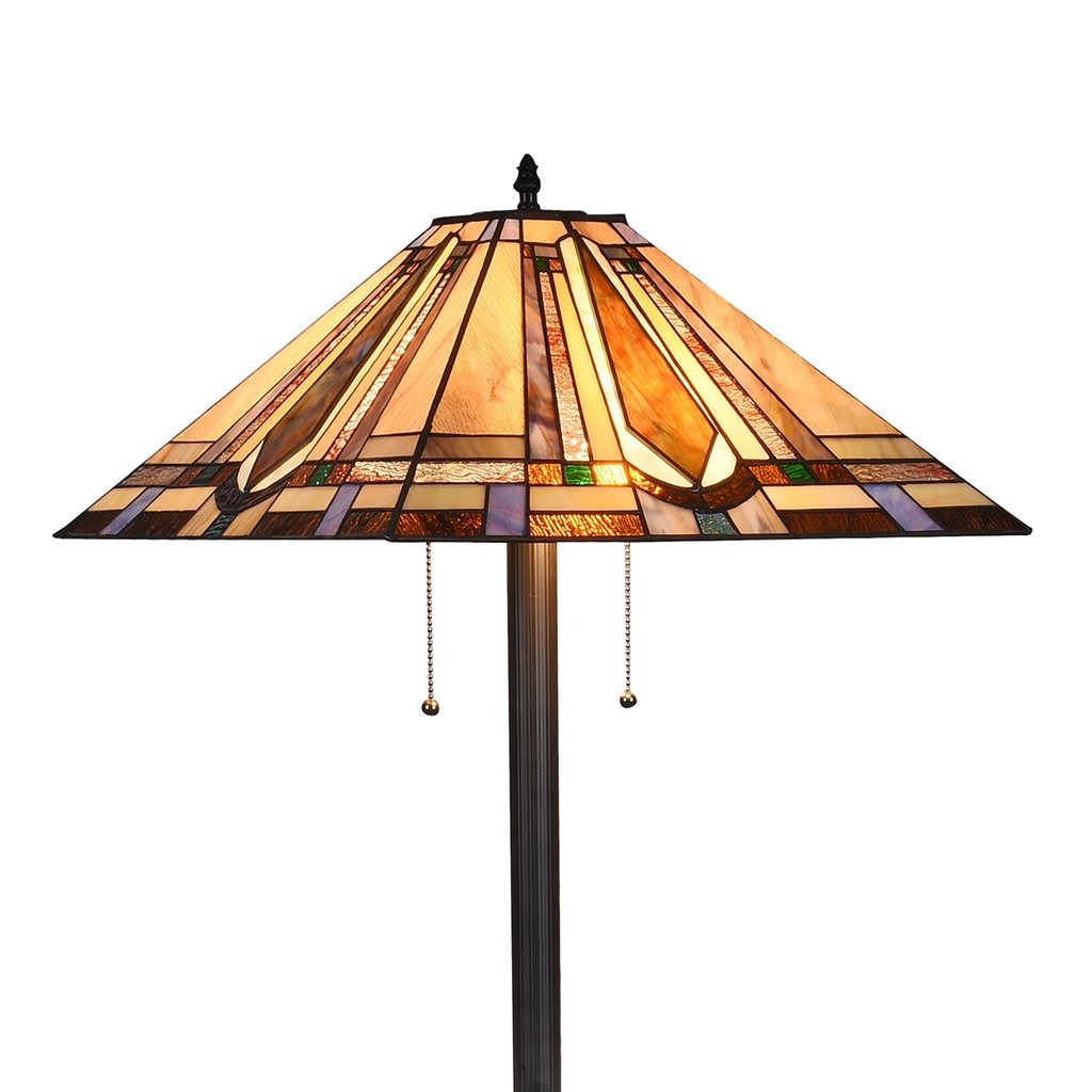 Docheer Tiffany Style 2 Light Mission Floor Standing Lamp With 18 Inch  Shade Art Glass Floor ...