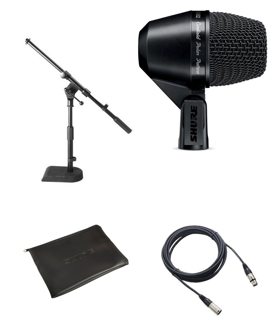 Shure PGA52 Kick Drum Microphone Bundle with XLR Cable and Drum Mic Stand by Shure