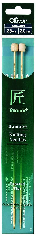 2 mm Clover 3701 bamb/ú-Jackennadeln Takumi 23 cm