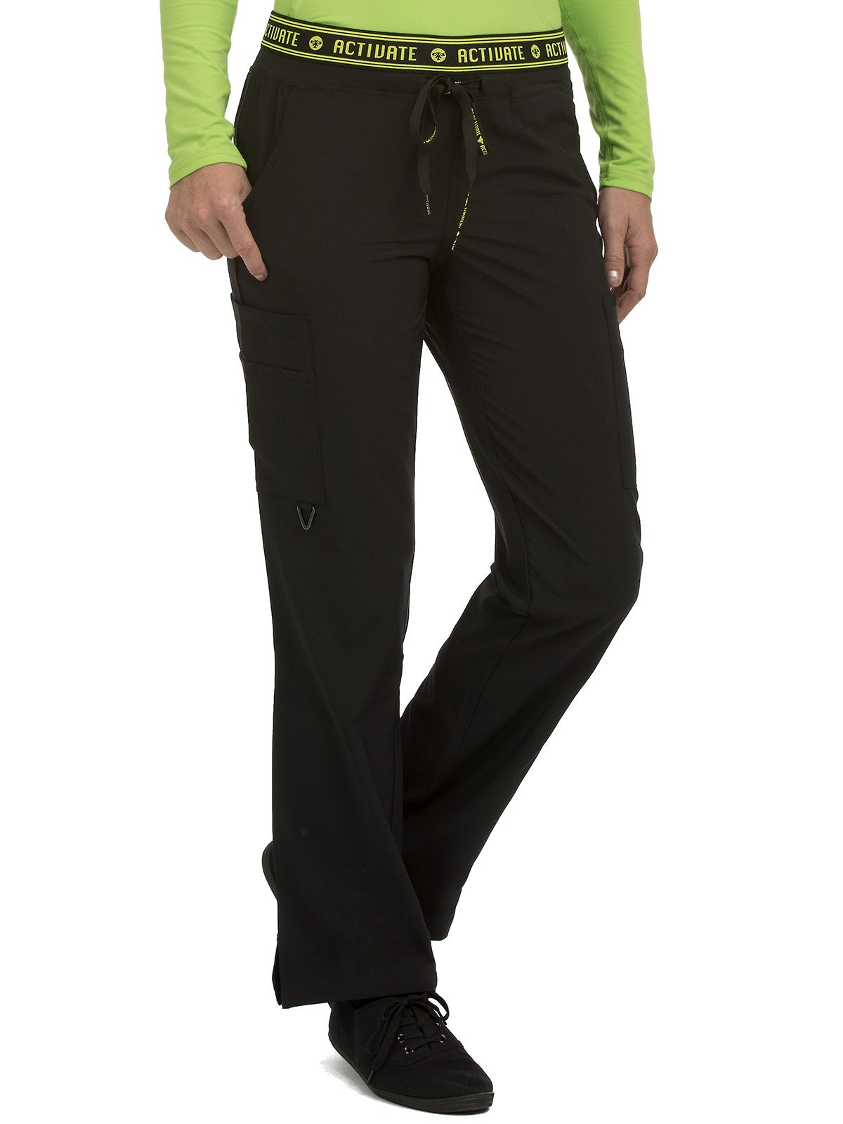 Med Couture Women's 'Activate' Flow Yoga Cargo Scrub Pant, Black, XX-Large