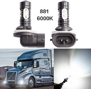PeakCar - 881 862 886 889 894 896 898 LED Fog Lights, (2pcs) Super Bright LED Light Bulbs CREE 50W 6000K Xenon White High Power Replacement for Fog Lights & Daytime Running Lights DRL