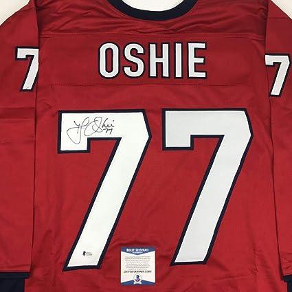 a4cd2b793a7 Autographed Signed TJ T.J. Oshie Washington Custom Red Hockey Jersey  Beckett BAS COA