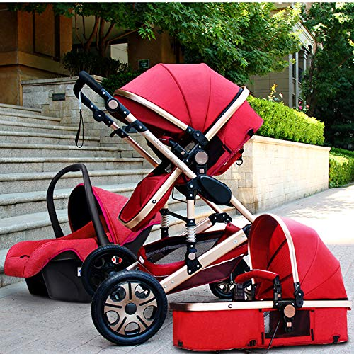 - Four-Wheeled Stroller Shockproof Travel System Stroller Safety Foldable (Red)