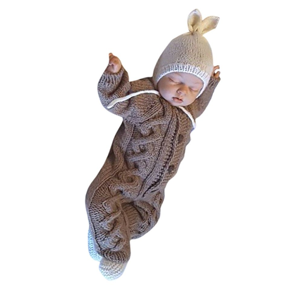 Newborn Baby Kids Warm Knitted Cotton Long Sleeve Infant Warm Soft Sweater Outwear Pocciol Knit Jumpsuit