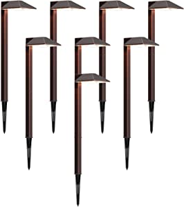 GOODSMANN Landscape Lighting 8PK Low Voltage Path Lights LED 1W 100 Lumen 3000K Outdoor Lighting with Metal Stake and Connector Oil Rubbed Bronze Finish 9901-2101-B8