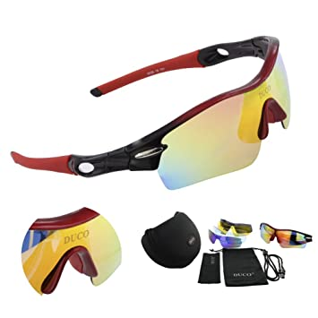 f2ec9a9c9f6 Polarized Sports Sunglasses with 5 Interchangeable Lenses UV400 Protection Sports  Sunglasses for Cycling Running Glasses Black Red