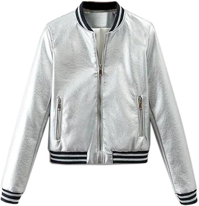 Romwe Womens Clubwear Jacket Long Sleeve Lightweight Zipper Metallic Hooded Crop Jacket Outwear
