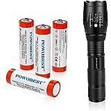 Juego de linterna LED de mano con 4 baterías recargables 18650, pequeñas linternas tácticas con 5 modos de luz para…