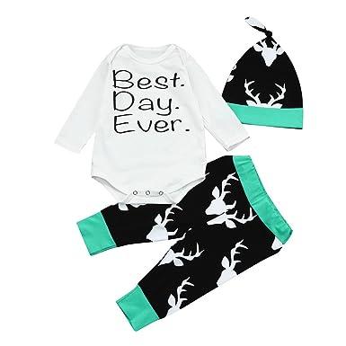 25d54f4b7 Amazon.com  LNGRY Infant Baby Girls Boys Romper Tops+Deer Pants+Hat ...
