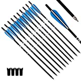 Tiger Archery 20inch Hunting Archery Carbon Arrow Crossbow Bolts with 4' vanes Feather and Replaced Arrowhead/Tip(Pack of 12) …