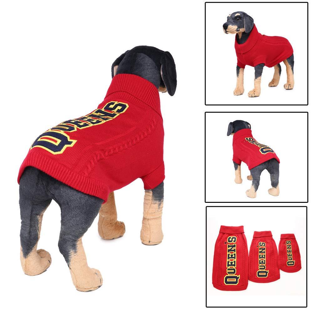 OOEOO Big Pet Dog Winter Letter Print Sweater, Queens(Red,3XL)