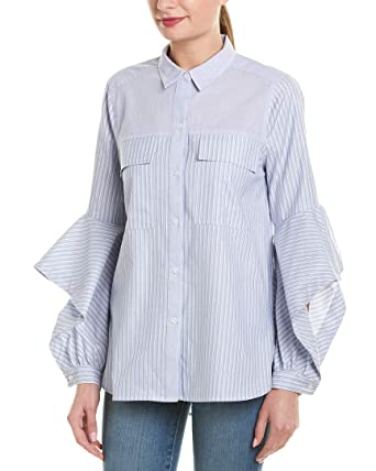 bd9bcc739b031 Amazon.com: BCBGMAXAZRIA Women's Mixed Stripe Cotton Shirt: Clothing