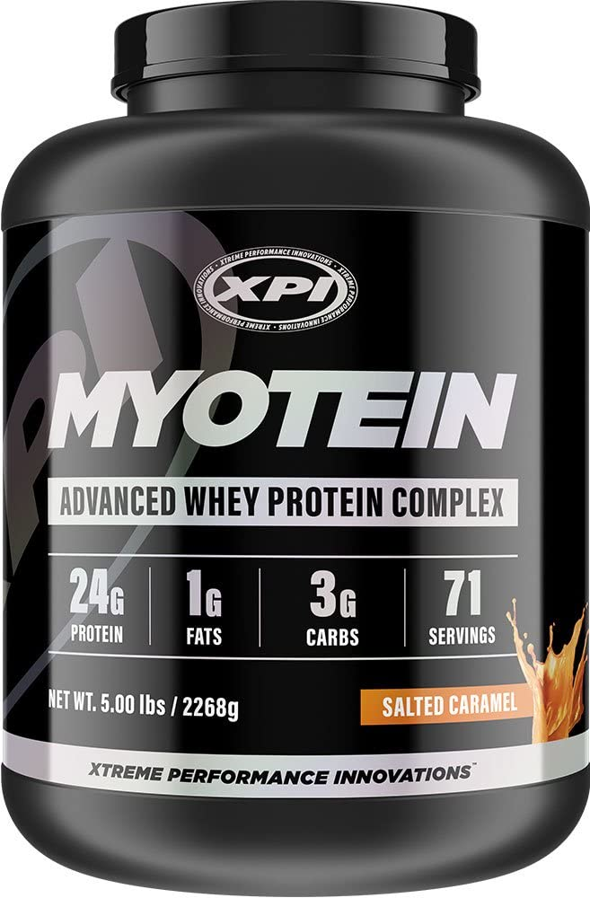 XPI Myotein Protein Powder Salted Caramel, 5lbs – Best Whey Protein Powder Complex – Great Tasting – Hydrolysate, Isolate, Concentrate, Colostrum, Micellar Casein