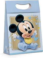 Caixa Para Presente Plus Cromus Embalagens na Estampa Mickey Baby Fun com Aba de Fechamento e Alça 26x11x40 cm com 10 Unidade