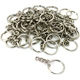 TWONE Metal Split Keychain Ring Parts - 100 Key Chains With 25mm Open Jump Ring and Connector - Make Your Own Key Ring