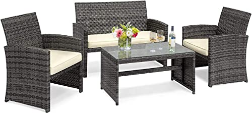 Casart 4 PC Rattan Sofa Chair and Table Set