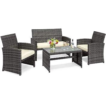 Sale Costway 4 Pc 4pc Outdoor Furniture Set Rattan Cushioned Sofa Lounge Gray Wicker Garden