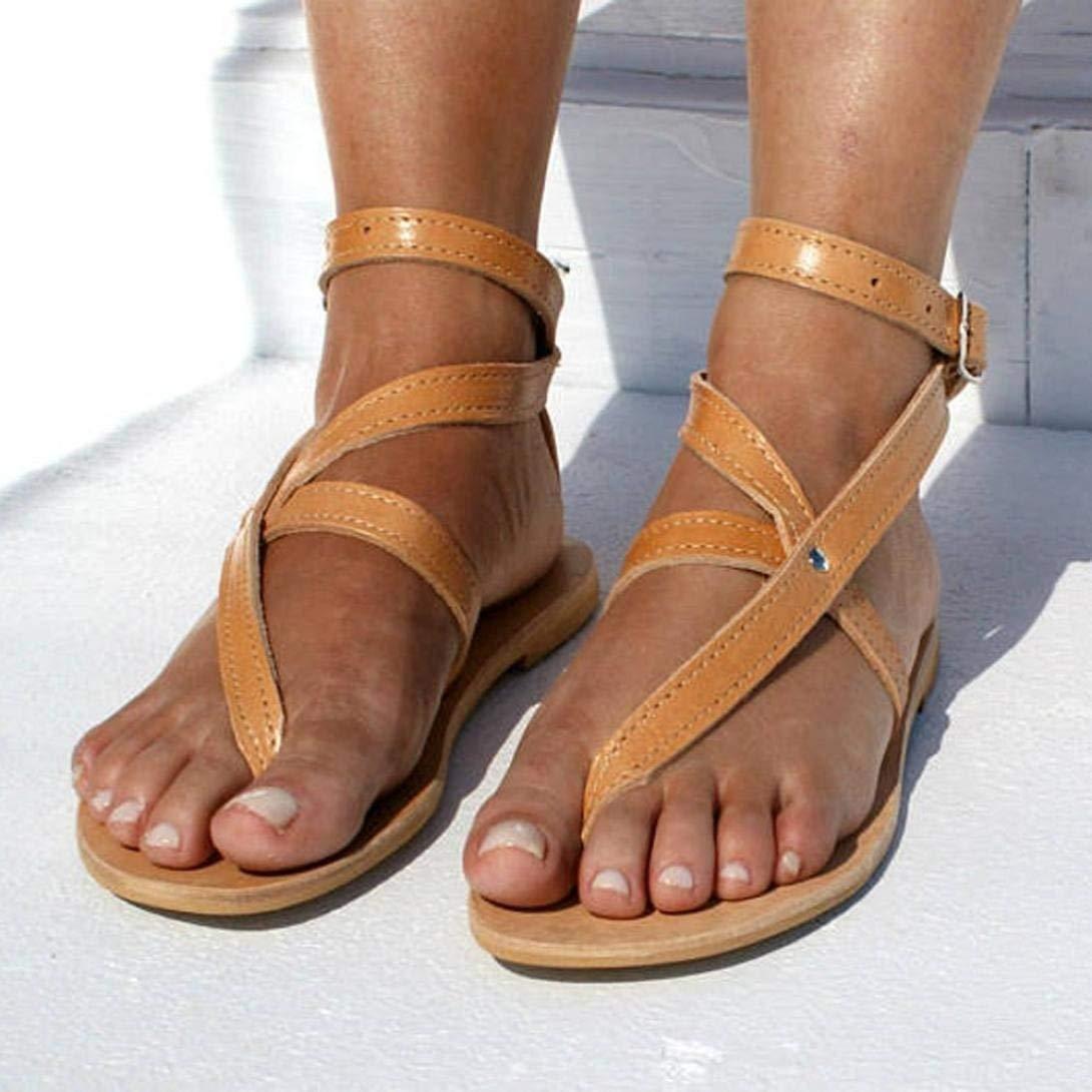 Sinwo Women Fashion Buckle Round Toe Flat Roman Sandals Leisure Beach Shoes (6.5, Orange)